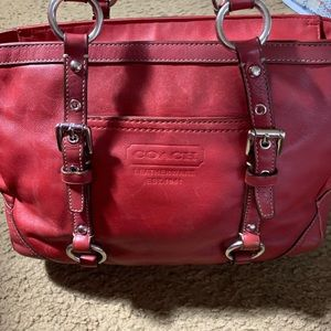 Coach red small satchel 14.5 x 9
